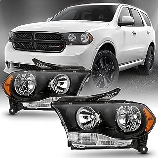 ACANII - For [Halogen Model] 2011-2013 Dodge Durango Headlights Black Bezel Headlamps Replacement Driver+Passenger Side