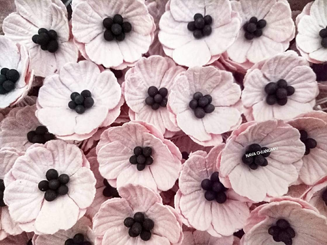 NAVA CHIANGMAI Poppy Mulberry Paper Flower (No Wire stem) Craft Mulberry Paper Flowers, Decorative Flowers for Crafts. (Pink)