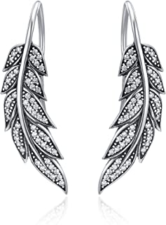 Pendientes de plata de ley 925 con diseño de plumas como regalo de cumpleaños para mujer, madre, novia