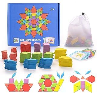Mumoo Bear 155Pcs Wooden Pattern Blocks Set Geometric Shape Puzzles DIY Graphical Classic Educational Montessori Tangram T...