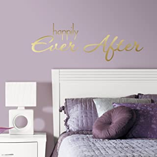 RoomMates RMK3085SCS Happily Ever After Quote Peel and Stick Wall Decal, gold