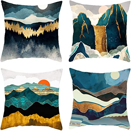 Amazon Com Heyhousenny Cartoon Landscape Mountains Decorative Watercolour Throw Pillow Covers Tree Bright Cushion Covers Square Outdoor Pillowcase For Sofa Set Of 4 Forest Sun Moon Home Kitchen
