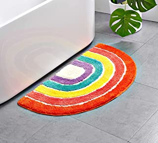 Aspthoyu Half Moon Rainbow Mat for Kids Bedroom Antiskid Bath Rugs Welcome Mats for Front Door Outdoor Indoor Living Room,...