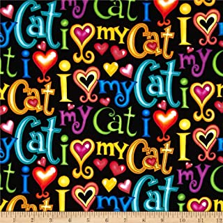 Timeless Treasures Love My Cat Words Black Fabric by The Yard
