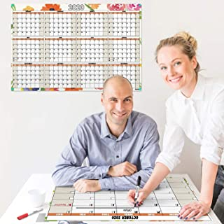 24x36 Wall Calendar Dry Erase 2020 Plus Reusable Monthly Planner 4-in-1 Pack (Floral), 1 Laminated Reversible Horizontal-Vertical 2020 Calendar, 1 Reversible Undated Monthly-Weekly Planner, Erasable