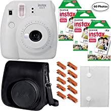 Fujifilm Instax Mini 9 (Smokey White), 3X Instax Film (60 Sheets), Groovy Case, Accordion Album and Hanging Pegs