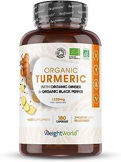 Cúrcuma Orgánica de 1520 mg con Jengibre y Pimienta Alta Absorción 180 Cápsulas - Potente Antiinflamatorio y Antioxidante, Para Sistema Inmunológico y Articulaciones, Con Curcumina y Piperina