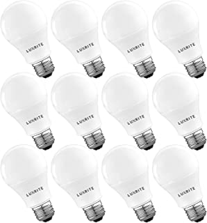 Luxrite A19 LED Light Bulb 60W Equivalent, 5000K Daylight White Dimmable, 800 Lumen, Standard LED Bulb 9W, E26 Base, Energy Star, Enclosed Fixture Rated, Perfect for Lamps and Home Lighting (12 Pack)