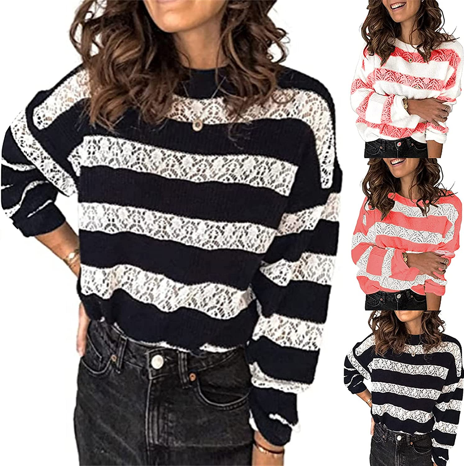 Women's Pullover Sweater Lace Up Patchwork Hollow O-Neck Long Sleeve Pullover Blouse Knitted Sweater