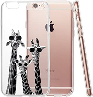 Funny Silly Giraffe Family Clear Phone Case for iPhone 6 Plus & iphone 6s Plus 5.5 Customized Design by MERVELLE TPU Clear case [Ultra Slim, Anti-Slippery]