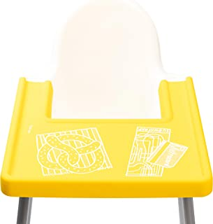 LITTLE PUKU – 'NY LYFE' Covered High Chair Placemat for Kids, Babies & Toddlers - IKEA Antilop Highchair Tray Compatible – Soft Silicone - BPA Free, Dishwasher Safe - Yellow