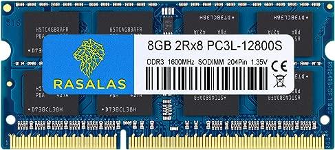 8GB DDR3, 8GB 1600 DDR3, Rasalas PC3L-12800S DDR3l 1600 mhz 2Rx8 PC3L-12800S 8GB 1.35V 204-Pin CL11 Dual Rank Ram Laptop Chips