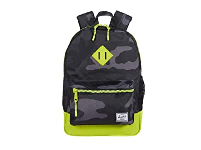 Herschel Supply Co. Kids Heritage Backpack (Big Kids) (Night Camo/Lime Punch) Backpack Bags