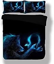 ZHEBEI3D المطبوعة مجموعة سرير مفرد مزدوجة الذئب الوحش الأسود غطاء لحاف مجموعة Twin Queen حجم سرير كتان مع أغطية وسائد نوم