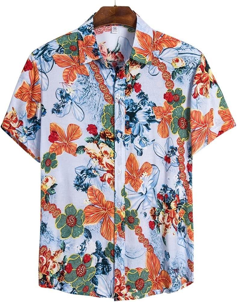 XJJZS Mens Ethnic Short Low price Sleeve Cotton Max 88% OFF Hawaiian S Print Men Linen