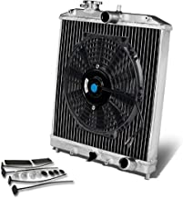 For Civic/Del Sol/Integra (Manual Transmission) 2-Row Dual Core 42mm Racing Radiator+10 inches Black Fan