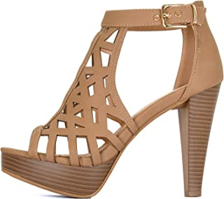 Guilty Shoes Womens Cutout Gladiator Ankle Strap Platform Block Heel Stiletto Sandals