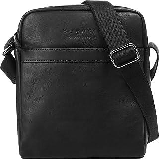 bugatti Corso Kleine Umhängetasche für Herren Schultertasche Leder, Messenger Bag Kuriertasche, Schwarz