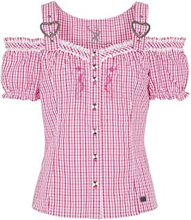 Spieth & Wensky Damen Carmen Trachtenbluse mit Stickerei kariert pink, Fuchsia pink, 32