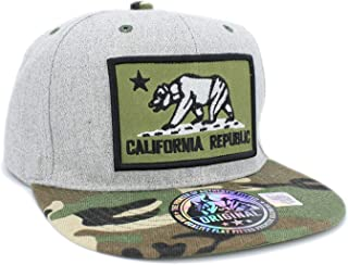 Embroidered California Republic Bear in Square Patch Snapback Baseball Hat