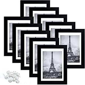 upsimples 5x7 Picture Frame Set of 10,Display Pictures 4x6 with Mat or 5x7 Without Mat,Multi Photo Frames Collage for Wall or Tabletop Display,Black