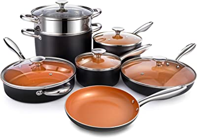 MICHELANGELO Copper Pots and Pans Set Nonstick 12 Piece, Ultra Nonstick Kitchen Cookware Sets with Ceramic Titanium Coating, Essential Copper Cookware Sets, Ceramic Pots and Pans Set Nonstick 12Pcs
