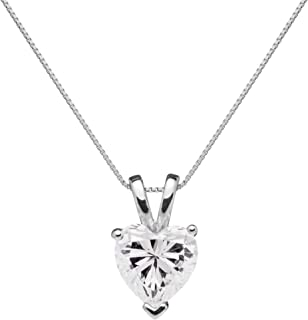 14K Solid White Gold Pendant Necklace | Heart Cut Cubic Zirconia Solitaire | 2 Carat | 16 Inch .60mm Box Link Chain | With Gift Box