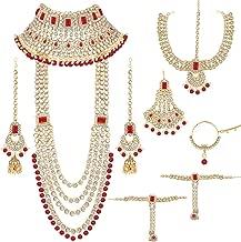 I Jewels Traditional Ethnic Indian Kundan Dulhan Bridal Jewellery Set for Women (BLP020R)