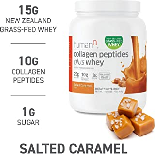 HumanN Collagen Peptides Plus Whey | Low-Carb, Grass-Fed, Pasture-Raised, 10 Grams of Collagen Peptides Plus 15 Grams of Whey Protein, Gluten Free, Soy Free, Non-GMO, Type I and III(Salted Caramel)