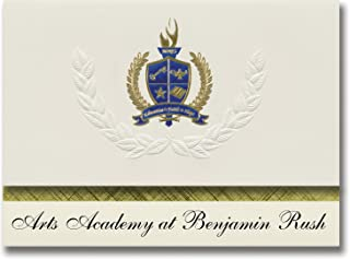 Signature Announcements Arts Academy at Benjamin Rush (Philadelphia, PA) Graduation Announcements, Presidential Elite Pack 25 with Gold & Blue Metallic Foil seal