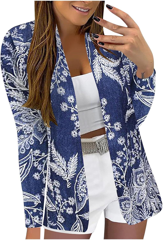 Cardigan Sweaters Women Business Attire Printed Long Sleeve Slimming Cardigan Suit Coat Top
