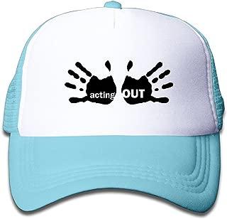 WH&SY Acting-Out-8 Children Mesh Trucker Cap Adjustable Fashion Kids Mesh Snapback Hat Trucker Caps Black