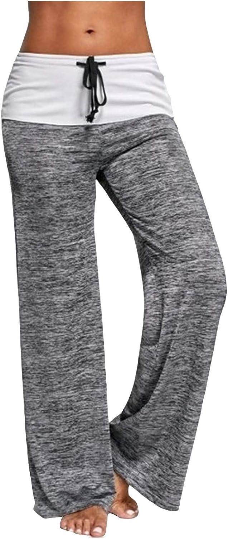 Padaleks Yoga Pants for Women Patchwork Casual Comfy Drawstring Palazzo Wide Leg Yoga Leggings Lounge Bottoms Trousers