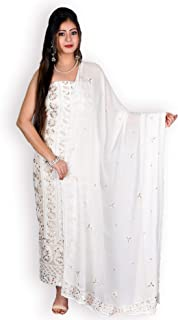 KASTURI-B WOMEN'S WHITE GEORGETTE 2 PC. SUIT WITH CHIKANKARI & GOTA PATTI