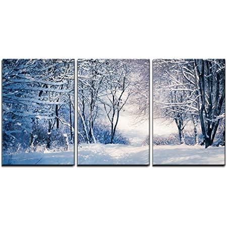 Wall26 3 Piece Canvas Wall Art Snow Covered Trees In The Mountains At Sunset Beautiful Winter Landscape Winter Forest Modern Home Art Stretched And Framed Ready To Hang