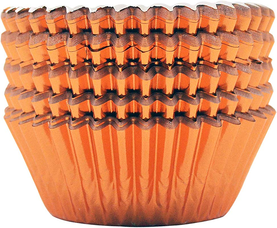 Mombake Orange Standard Foil Cupcake Liners Baking Cups 200 Count