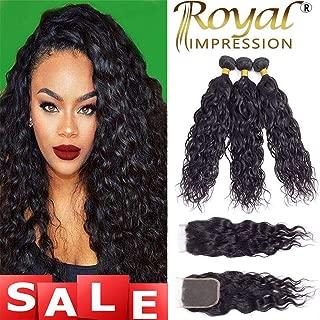 10A Brazilian Virgin Natural Wave Hair 3 Bundles with Closure Natural Color Remy Virgin Water Wave Human Hair Ocean Wave Bundles with Lace Closure Free Part (20