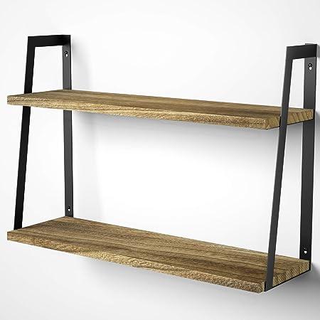 SRIWATANA Floating Wall Shelves, 2-Tier Rustic Wood Shelves for Bedoom, Bathroom, Living Room, Kitchen(Carbonized Black)