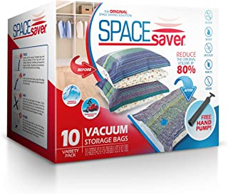 Spacesaver Premium Vacuum Storage Bags, Lifetime Replacement Guarantee, Works with Any Vacuum Cleaner, 80% More Storage Space! Free Hand-Pump for Travel! (Variety 10 Pack)