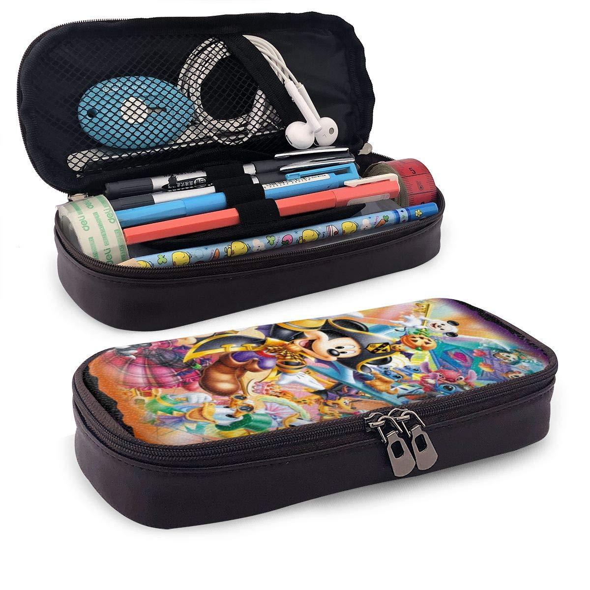 Mickey Mouse - Estuche de piel para bolígrafos y cosméticos, doble cremallera, para adultos, niñas, niños, escuela, oficina, etc.: Amazon.es: Oficina y papelería
