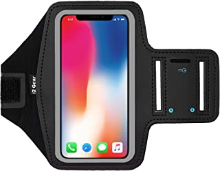 i2 Gear Cell Phone Armband Case for Running - Workout Phone Holder with Adjustable Arm Band and Reflective Border - Medium Armband for iPhone 8, 7, 6, 6S, Galaxy S6, S5, S4, HTC One, Black