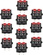 Tegg 10 PCS 4 Position 2 Row Push Release Connector Plate Stereo Speaker Terminal Strip Block