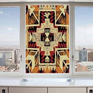 3D Decorative Privacy Window Films,Native American Inspired Retro Aztec Pattern Mod Graphic Design Boho Art Print,No-Glue Self Static Cling Glass Film for Home Bedroom Bathroom Kitchen Office 17.5x36