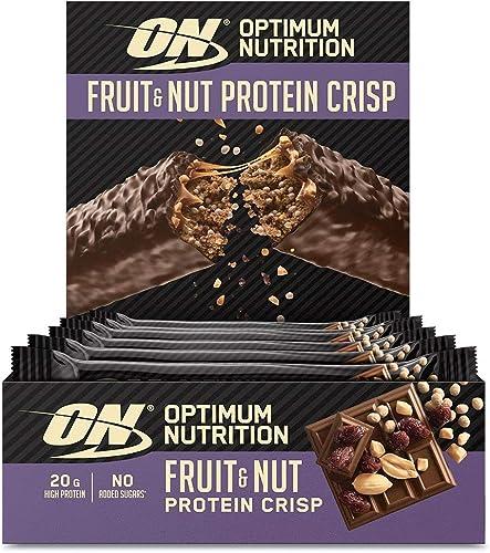 Optimum Nutrition Fruit & Nut Protein Crisp Bar, Barre Proteine Sans Sucre Ajouté avec Enrobage de Chocolat au Lait, ...