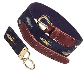 Preston Leather Four Fish Ribbon Belt, Navy, Sizes 30 to 50, FREE Matching Key Ring