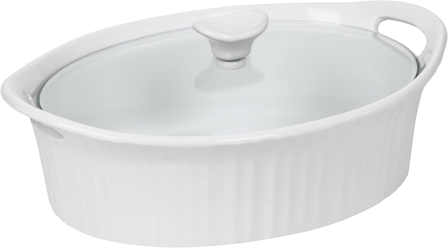 Corningware 1105935 French White III Oval Casserole With Glass Cover 2 5 Quart