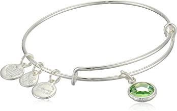 product image for Alex and Ani Women's Swarovski Color Code Bangle August Peridot Bracelet, Shiny Silver, Expandable
