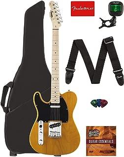 Fender Squier Affinity Series Telecaster Left-Handed Guitar - Maple Fingerboard, Butterscotch Blonde Bundle with Gig Bag, Tuner, Strap, Picks, and Austin Bazaar Instructional DVD