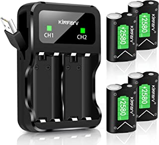 KINFAYV Xbox One Battery Pack 4 x 2580mAh Rechargeable Controller Battery and Charger Compatible with Xbox One/Xbox One S/Xbox One X/Xbox One Elite Wireless Controller