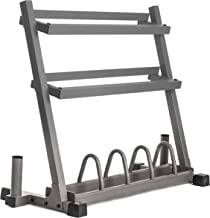 XMark All-in-One Dumbbell Rack, Plate Weight Storage and Dual Vertical Bar Holder, Design..